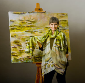 Andrea Silk wrap & scarf Water Lilies Painting