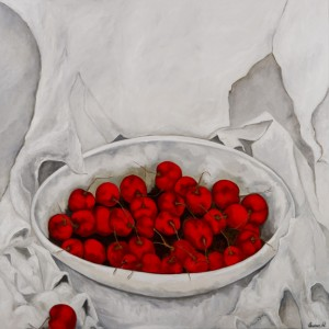 Cherries Jubilee Oil & Cold Wax on Canvas, 48 x 48 inches