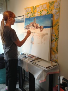 Creating the painting  (with ponytail extension)