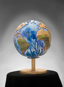 Eco Globe Oil on fiberglass sculpture 12-inch diameter