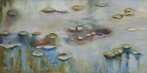 Homage to Monet Oil & Cold Wax on Canvas 24 x 48 onches