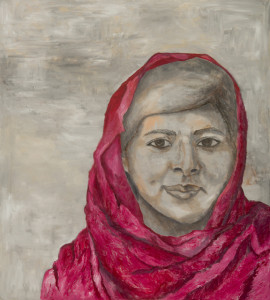 Malala Yousafzai Oil and Cold Wax on Canvas • 40 x 36 inches Painting by Andrea Harris