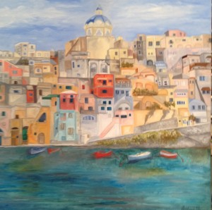 Procida Completed Painting 100 cm x 100 cm  oil on canvas