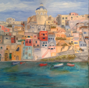 Procida Island (Gulf of Naples) Oil on Linen, 100 x 100 cm