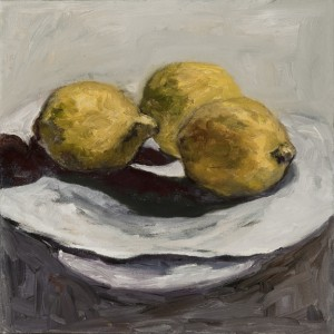 "Three Lemons, Oil and Cold Was on Canvas, 12""x12"""