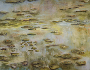 Water Lilies Oil & Cold Wax on Canvas 36 x 46 inches
