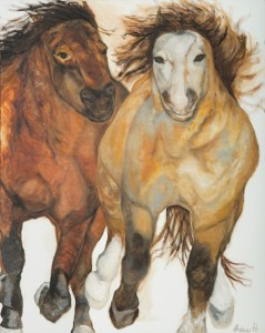 """Wild Horses, Oil & Cold Wax on Canvas 60"""" x 48"""""""