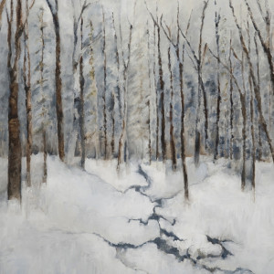 Winter Woodlands Oil & Cold Wax on Canvas 38 x 38 inches