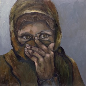 "Woman of Afghanistan Oil & Cold Wax on Canvas 24"" x 24"""