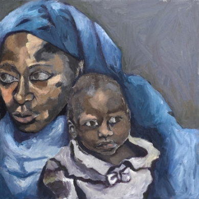 Amina Lawal and her daughter Wasila, oil and cold wax painting by Chicago artist Andrea Harris