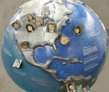 """Eco Heroes Facing the Earth"" Cool Globe by Chicago artist Andrea Harris"