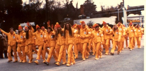 Andrea Harris, row one, second from right, with fellow Olympic Torchbearers, 1980 Winter Olympic Games, Lake Placid, New York