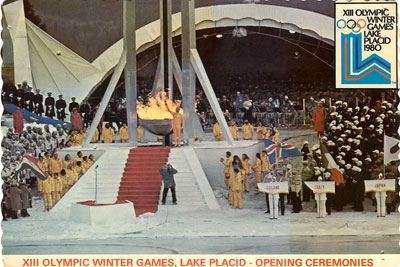 Charles Morgan Kerr lighting the Olympic Flame in the 1980 Winter Olympic Games, Lake Placid, New York