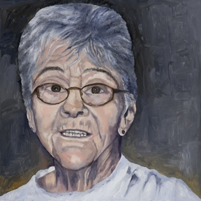 Sister Dorothy Stang, oil and cold wax portrait by Chicago artist Andrea Harris