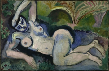 Henri Matisse (French, 1869–1954). Blue Nude (Memory of Biskra), 1907. 92.1 x 140.4 cm (36 1/4 x 55 1/4 in.) The Baltimore Museum of Art, The Cone Collection, BMA 1950.228. © 2010 Succession H. Matisse / Artists Rights Society (ARS), New York.